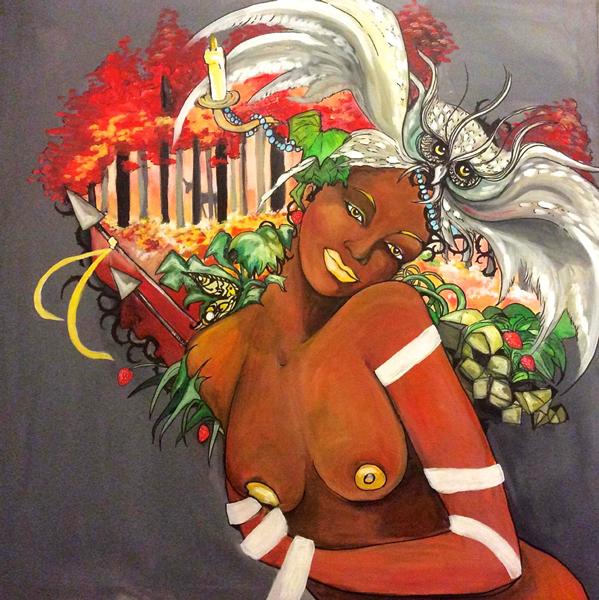 Je ne suis pas un déguisement - Femme-totem AfroRoots Automne Arthémis  (© Annia Drawing)