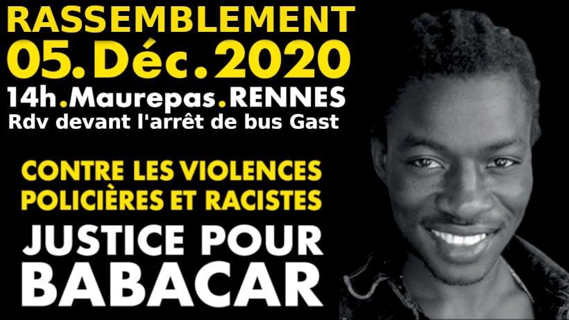 Rassemblement pour Babacar Gueye le 5 déccembre 2020 à 14h à Rennes (collectif Justice et Vérité pour Babacar Gueye)